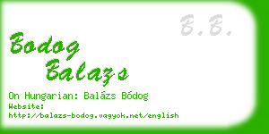 bodog balazs business card